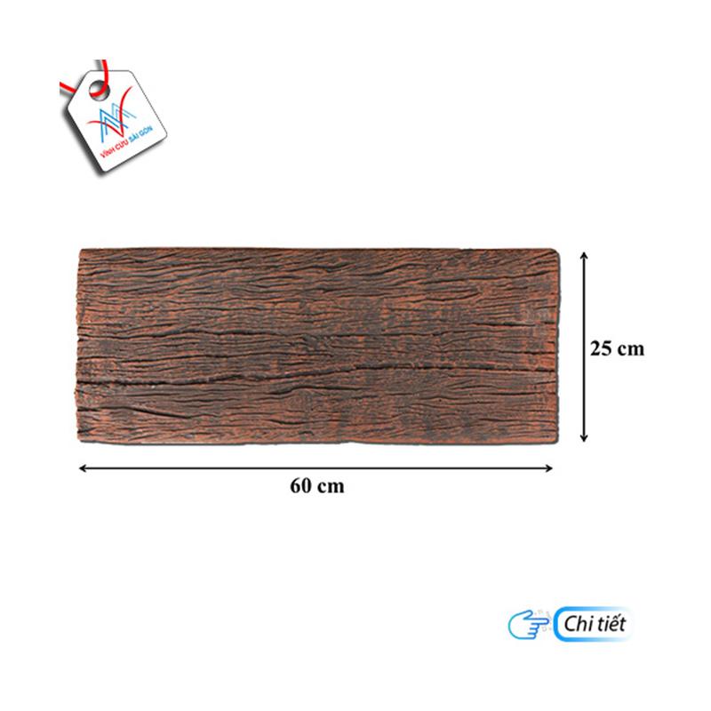 Bê tông giả gỗ - B12 (60x25x4cm) màu Đen Nâu