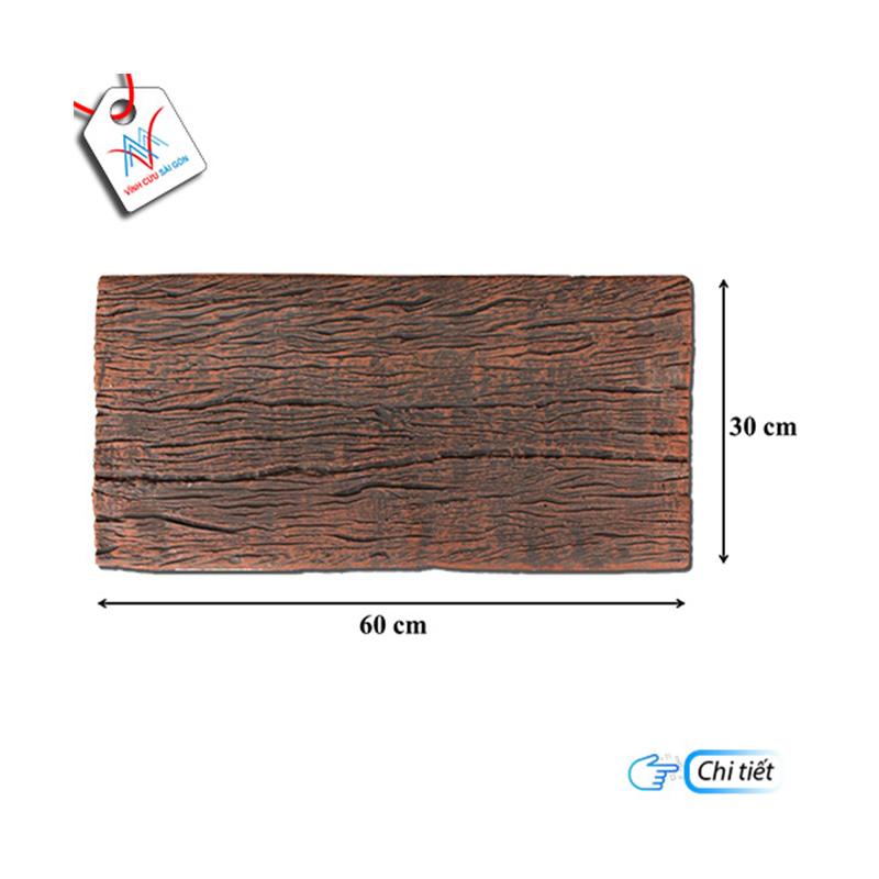 Bê tông giả gỗ - B12 (60x30x4cm) màu Đen Nâu