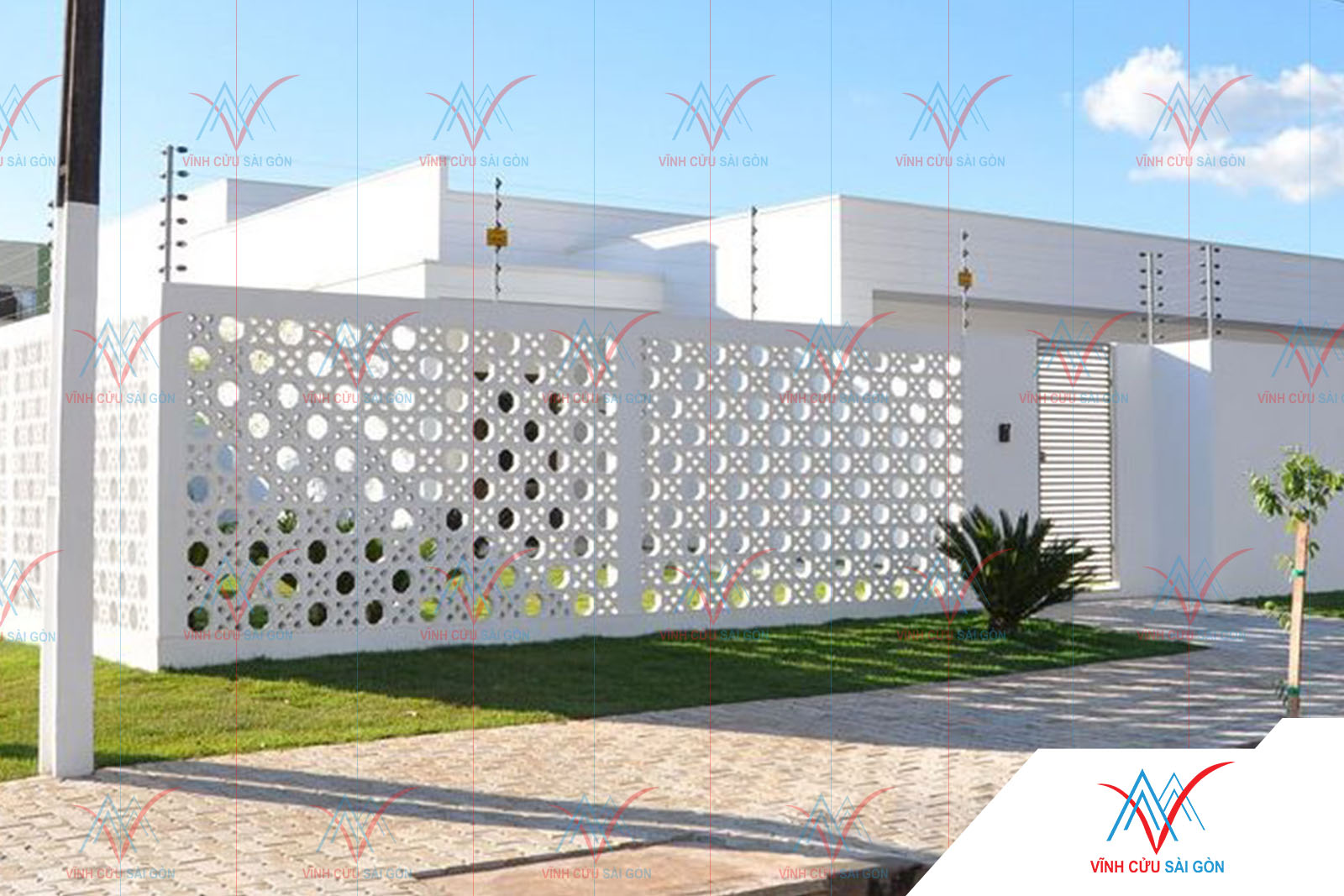 Công trình thực tế sử dụng gạch bông gió mỹ thuật VCB-026 trắng (190x190x65 mm)
