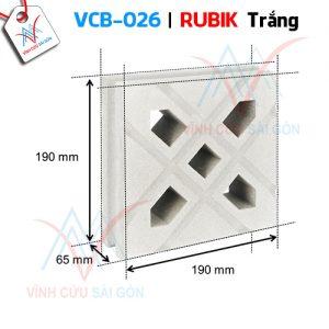Gạch bông gió mỹ thuật VCB-026 trắng (190x190x65 mm)