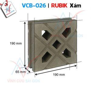 Gạch bông gió mỹ thuật VCB-026 xi măng (190x190x65 mm)