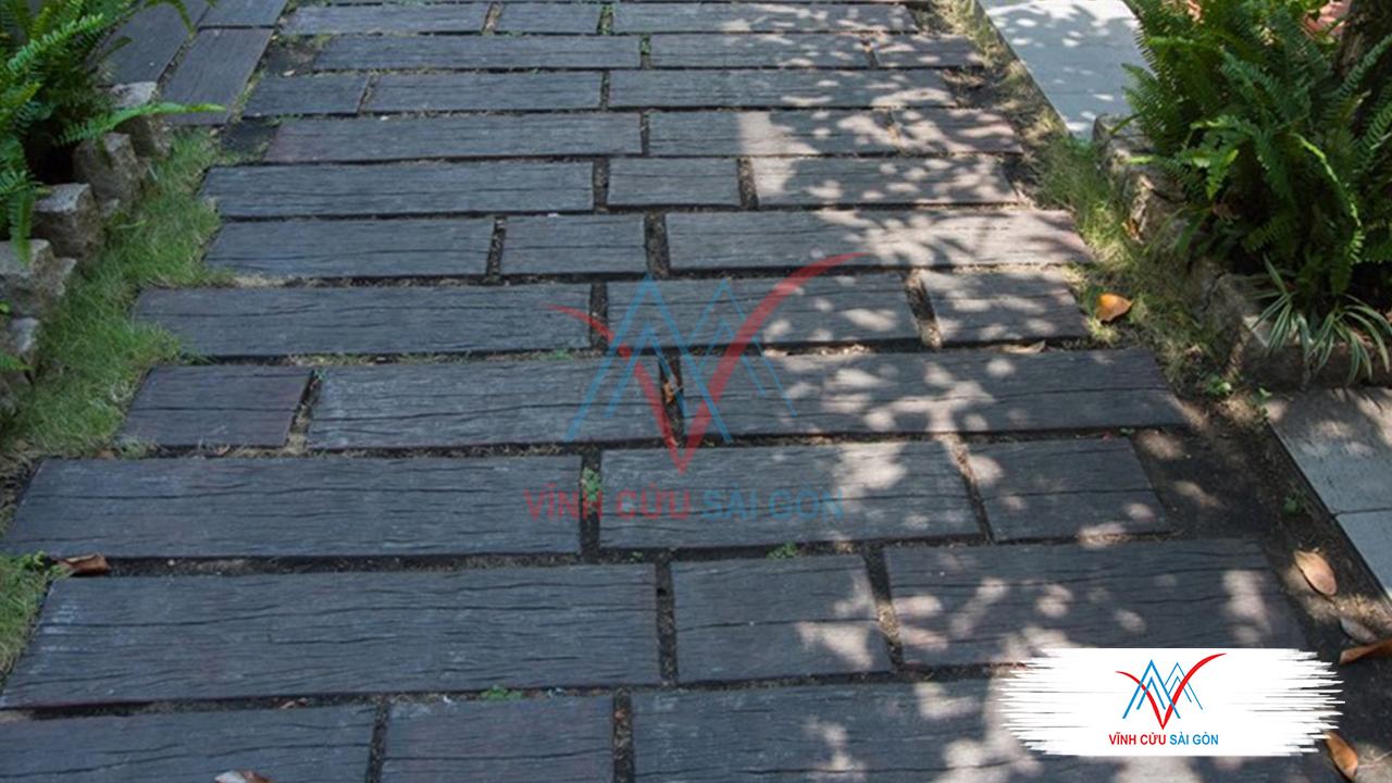 Công trình thực tế Giả gỗ B11 (30x30x4cm) đen-4