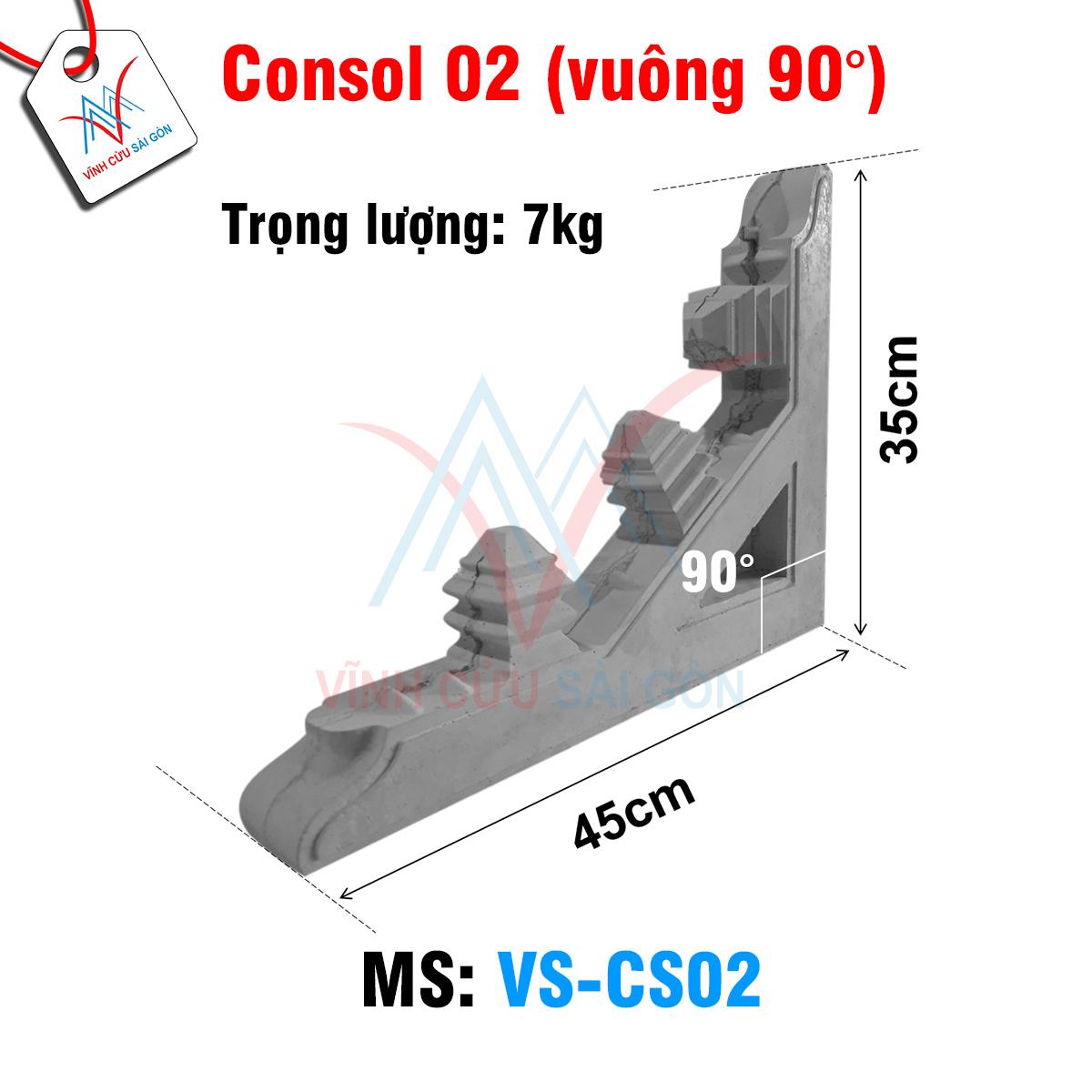 Kích thước của Consol 02 (vuông 90°)