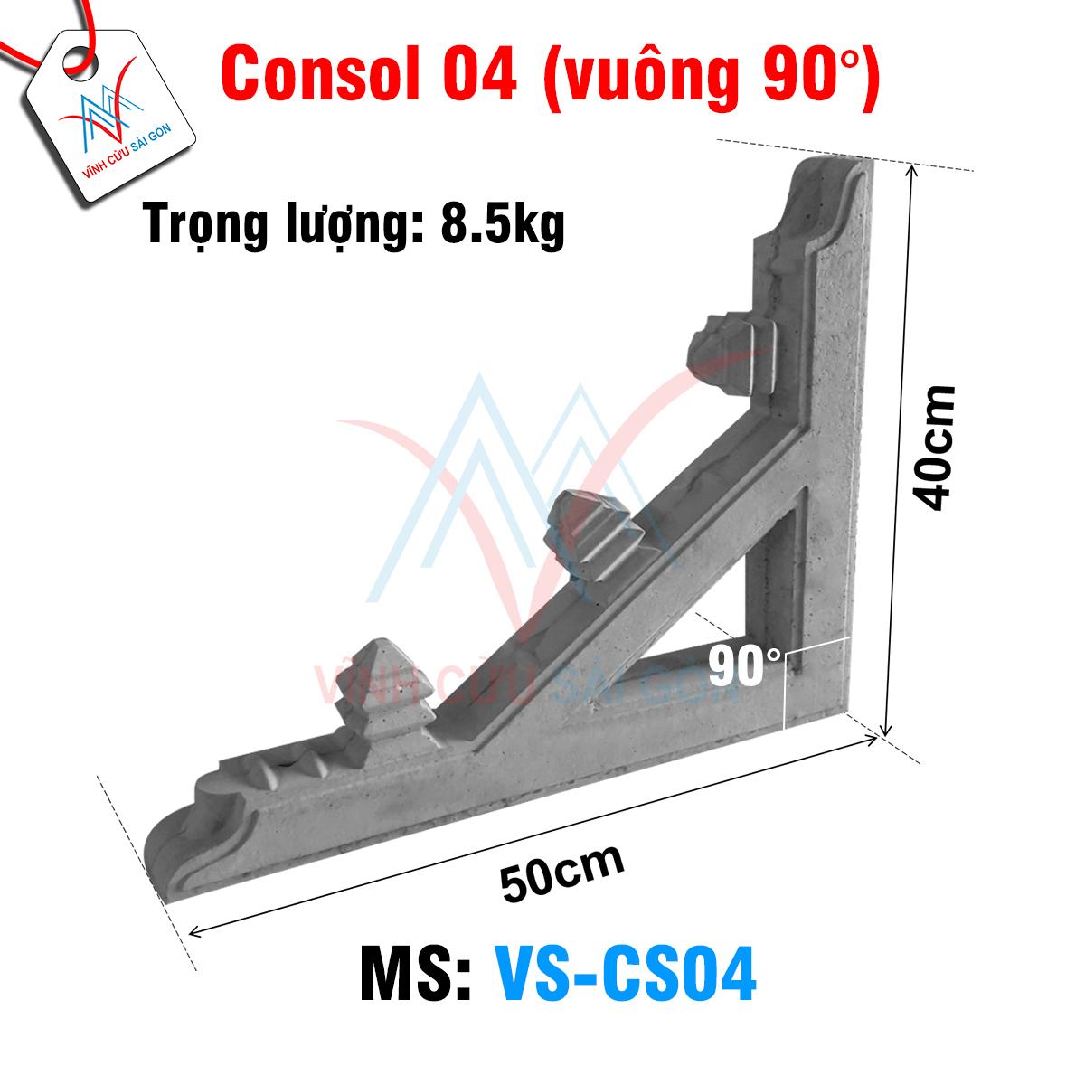 Kích thước của Consol 04 (vuông 90°)